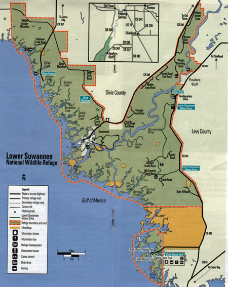 map of the lower suwannee national wildlife refuge