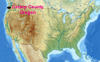 usa map showing location of catsop county oregon