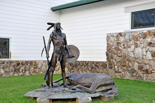 bronze statue outside the Crazy Horse welcome center