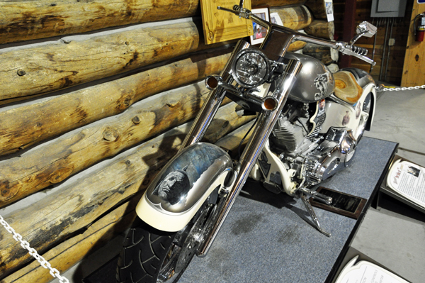an amazing motorcyle on disply in the Welcome Center at Crazy Horse memorial
