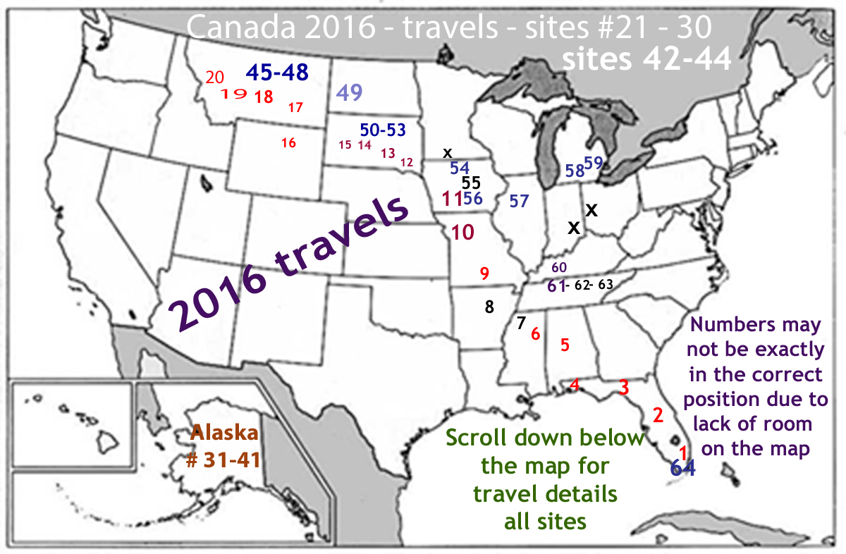 USA map 2016 - travels of the two RV Gypsies