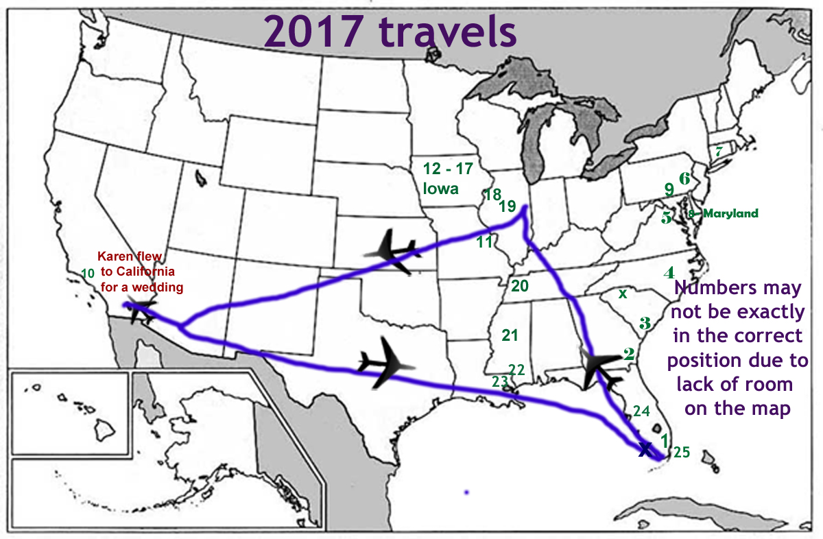travel map for the two RV Gypsies in 2017