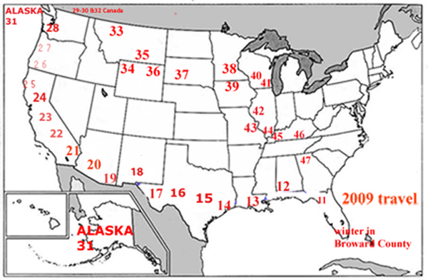 USA map showing the travels of the two RV Gypsies in 2009
