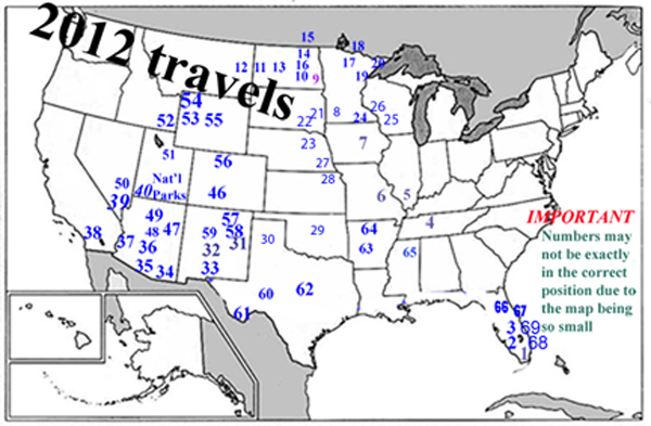 USA map showing the travels of the two RV Gypsies in 2012