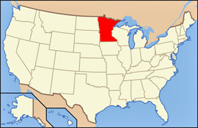 USA map showing the location of Minnesota