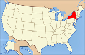 USA map showing location of New York state