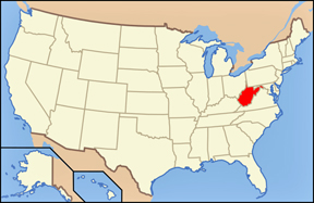 USA map showing location of WV