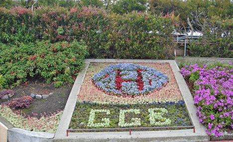 flowers forming the initials GGB